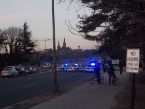 Police block off Key Bridge