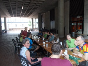 Nancy Duley (left foreground with glasses) at Friday Coffee Club