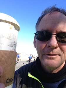 Coffee, now cold, at the marathon